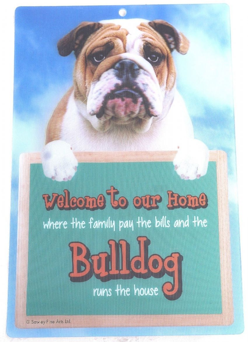BULLDOG 3D WELCOME SIGN STUNNING EYE CATCHING 23CM X 15CM DURABLE DOG SIGN